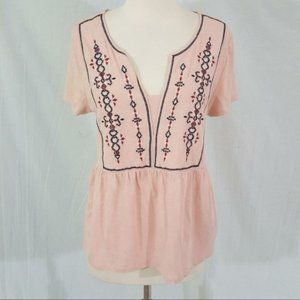Sanctuary Pink Embroidered Carlisle Top XS Revolve